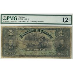 1897 Dominion of Canada; 1 Dollars,  DC-12, PMG F12 Net.  #378523, designated with tears.