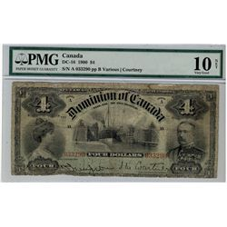 1900 Dominion of Canada; 4 Dollars, DC-16 #033290 PMG VG10 Net Tears.