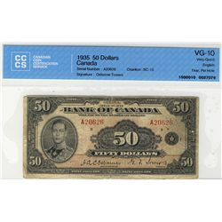 1935 Bank of Canada; $50 BC-13 #A20626 CCCS VG-10. A nice example with minor split in center fold an