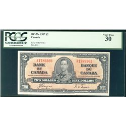 1937 Bank of Canada; $2 BC-22c #DR1789363 PCGS VF30.