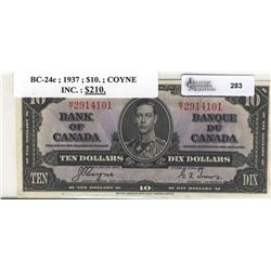 1937 Bank of Canada; 10 Dollars, Charlton BC-24c, AU-UNC, MT2914101.
