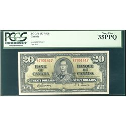 1937 Bank of Canada; $20 BC-25b #EE7651417 PCGS VF35PPQ.