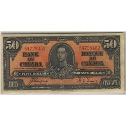 1937 Bank of Canada; 50 Dollars, Charlton BC-26c, AU-55, BH4728452.