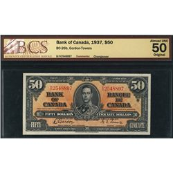 1937 Bank of Canada; 50 Dollars, Charlton BC-26b, BCS AU-50, BH2548897.