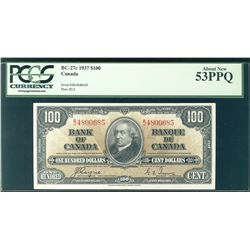 1937 Bank of Canada; 100 Dollars, BC-27c #BJ4800685 PCGS AU53PPQ.