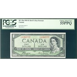1954 Bank of Canada; 1 Dollars,  BC-29a Devil's Face #HA1202777 PCGS CH AU55PPQ.