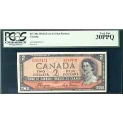 1954 Bank of Canada; $2 BC-30a Devil's Face #DB2438121 PCGS VF30PPQ.
