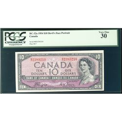 1954 Bank of Canada; 10 Dollars, BC-32a Devil's Face #BD2389210 PCGS VF30.