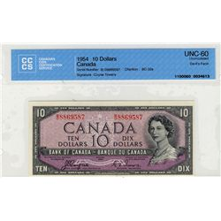 1954 Bank of Canada; 10 Dollars BC-32a, CCCS UNC60; #BD8869587.