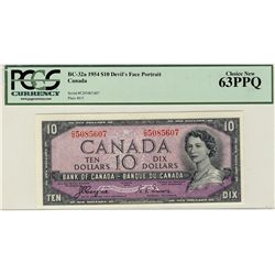 1954 Bank of Canada; 10 Dollars, BC-32a #C/D5085607 PCGS UNC63PPQ.