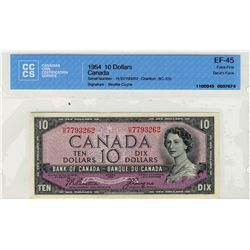 1954 Bank of Canada; 10 Dollars BC-32b, CCCS EF45; #HD7793262.