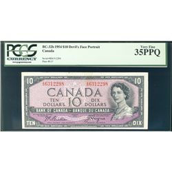1954 Bank of Canada; 10 Dollars, BC-32b Devil's Face #ID6312298 PCGS VF35PPQ.