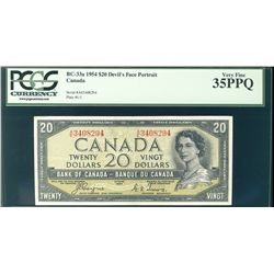 1954 Bank of Canada; $20 BC-33a Devil's Face #AE3408294 PCGS VF35PPQ.