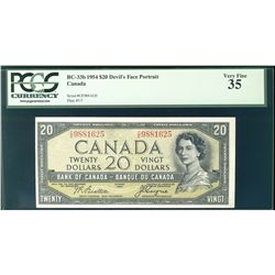 1954 Bank of Canada; $20 BC-33b Devil's Face #CE9881625 PCGS VF35.