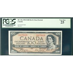 1954 Bank of Canada; 100 Dollars, BC-35a Devil's Face #AJ0178828 PCGS VF25.