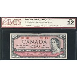 1954 Bank of Canada; 1000 Dollars F-12, RADAR BC-44d #AK1614161. Described with Tear and hole.