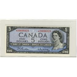 1954 Bank of Canada $5 BC-39bA #*RC0030323, crisp AU /UNC issue.