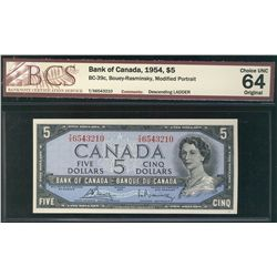 1954 Bank of Canada; 5 Dollars #TX6543210, BCS CH UNC-64; Ladder Serial number.
