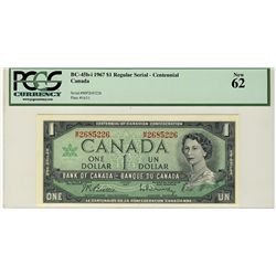 1967 Bank of Canada; 1 Dollars,  BC-45b-i #MP2685226 PCGS UNC62.