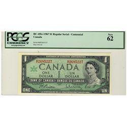 1967 Bank of Canada; 1 Dollars,  BC-45b-i #MP2685227 PCGS UNC62.