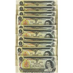 1973 Bank of Canada; BC-46a #0000010, 020, 030, 040, 050, 060, 070, 080, 090 & 100 Set. Lot of 10 no