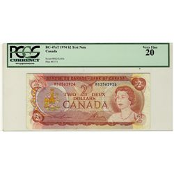 1974 Bank of Canada; $2 BC-47aT #RS2562926 PCGS VF20.