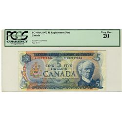 1972 Bank of Canada; $5 BC-48bA #*CU2999836 PCGS VF20
