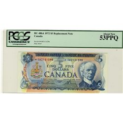 1972 Bank of Canada; $5 BC-48bA #*SW2131390 PCGS AU53PPQ.