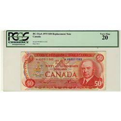 1975 Bank of Canada; $50 BC-51aA #*HB3311385 PCGS VF20.