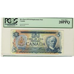 1979 Bank of Canada; $5 BC-53aA #31002588509 PCGS VF20PPQ.