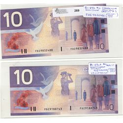 2000 Bank of Canada; 10 Dollars BC-63aA #FDZ9188743 & BC-63b #FDZ9832488.  Lot of 2 notes UNC.