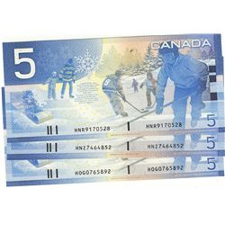 2004 Bank of Canada; 5 Dollars BC-62bA Sheet Replacement notes #HOG0765892,  HNR9170528 & HNZ7464852