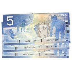 2005 Bank of Canada; 5 Dollars BC-62bA Sheet Replacement notes #HOH9295221, HOL7761590 & HOR1476475.