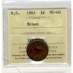 Nova Scotia 1861 Half Cent, ICCS MS60; Brown.