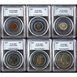 1937 Specimen Set, PCGS Specimens;  Cent, 25 Cents, 1 Dollars SP64, 5 Cents, 10 Cents, 50 Cents SP65