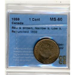 1859 1Cent, CCCS MS60RB; Narrow 9, Low9, repunched 1859.