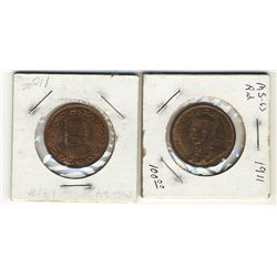 1911 1 Cent & 1918; Lot of 2 coins red with lustre.