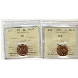 1950 1 Cent, 1967 ICCS MS65; Red.  Two coins.