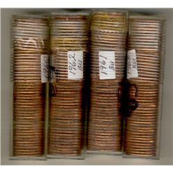 1960 Cents, 1961, 1962 and 1963.  4 rolls.