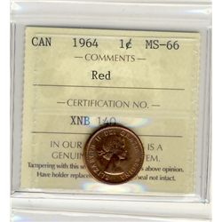 1964, Cents ICCS MS66; Red.