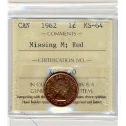 1962 Cents, ICCS MS64; Red, Missing M.