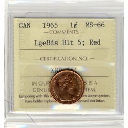 1965, Cents ICCS MS66; Red, Cents LgeBds Blt5.