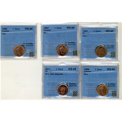 1967 1 Cent, 1997, 1998(2), 2011 Non Mag, CCCS MS65; Five coins.