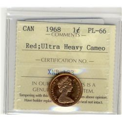 1968 Cents, ICCS PL66; Red Ultra Heavy Cameo.