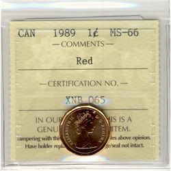 1989, Cents ICCS MS66; Red.