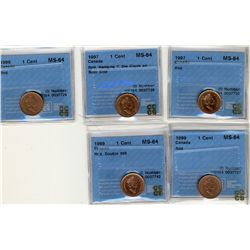 1997 1 Cent, 1997 Hanging 7, 1999(2), 1999 Dbl 999, CCCS MS64;   Five Red coins.