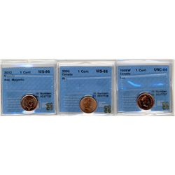 1998W 1 Cent, 2000, 2012 Magn, CCCS MS66RD; Three coins.