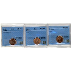 2001 1 Cent, 2005, 2012 Magn, CCCS MS66Rd; Three coins.