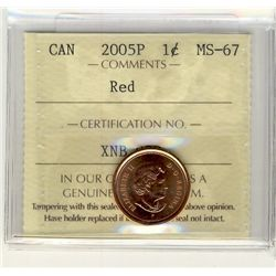 2005P, Cents ICCS MS67; Red.
