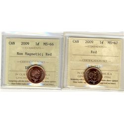 2009 and 2009 Non Magnetic ICCS MS66 & MS67; Red.  2 coins